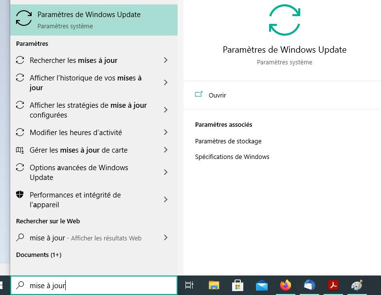 Sélectionnez les paramètres de Windows update de la barre de recherche